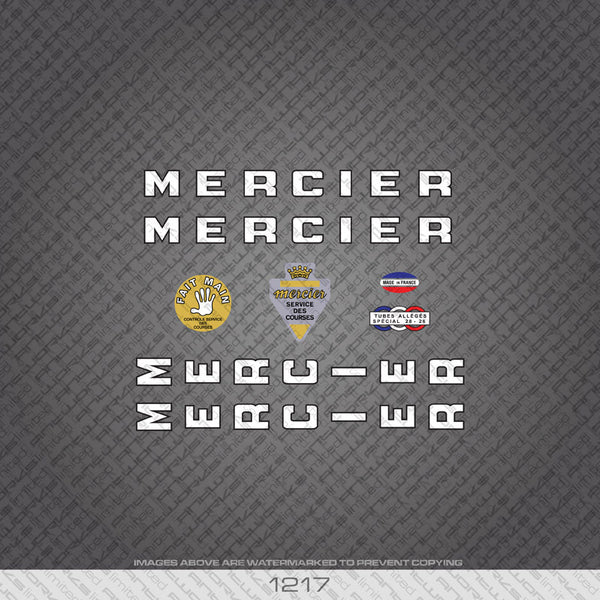 Mercier Bicycle Decals - White - www.bicyclestickers.co.uk