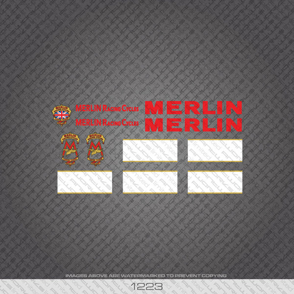 Merlin Racing Cycles Bicycle Decals - Red - www.bicyclestickers.co.uk
