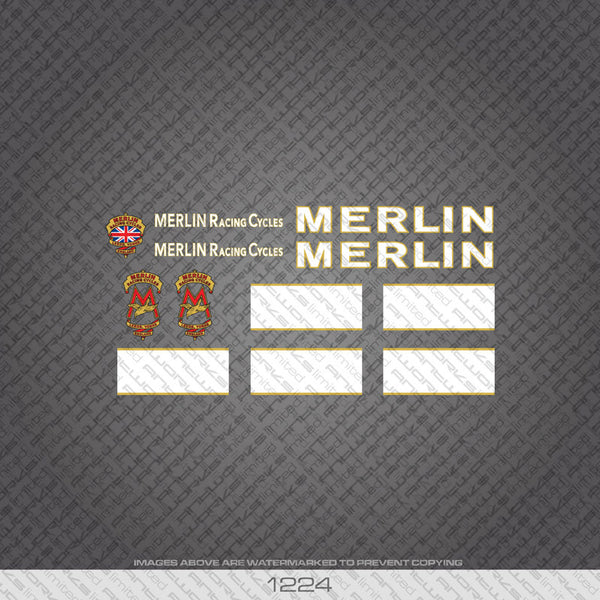 Merlin Racing Cycles Bicycle Decals - White - www.bicyclestickers.co.uk