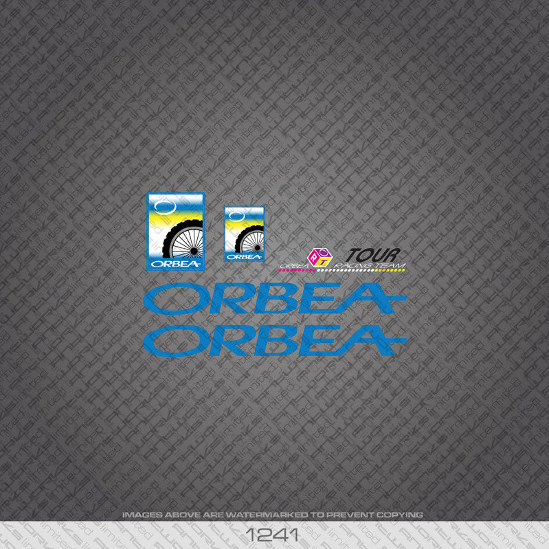 Orbea Tour Bicycle Decals - Blue - www.bicyclestickers.co.uk