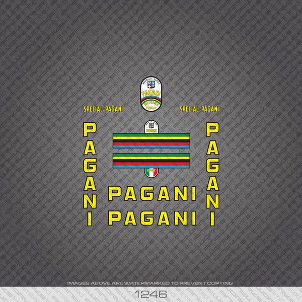 Pagani Bicycle Decals - Yellow - www.bicyclestickers.co.uk