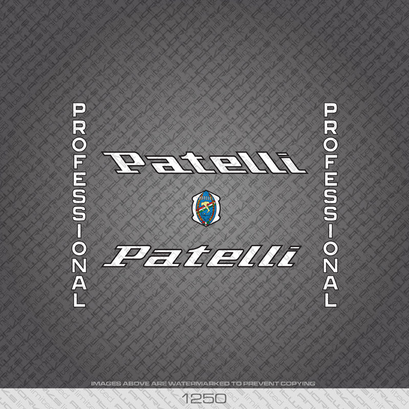 Patelli Professional Bicycle Decals - White With Black Keyline - www.bicyclestickers.co.uk