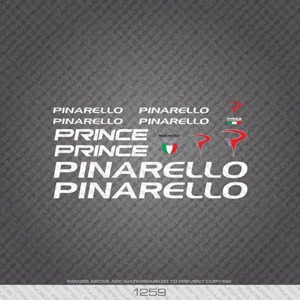 Pinarello Prince Bicycle Decals - White Lettering - www.bicyclestickers.co.uk