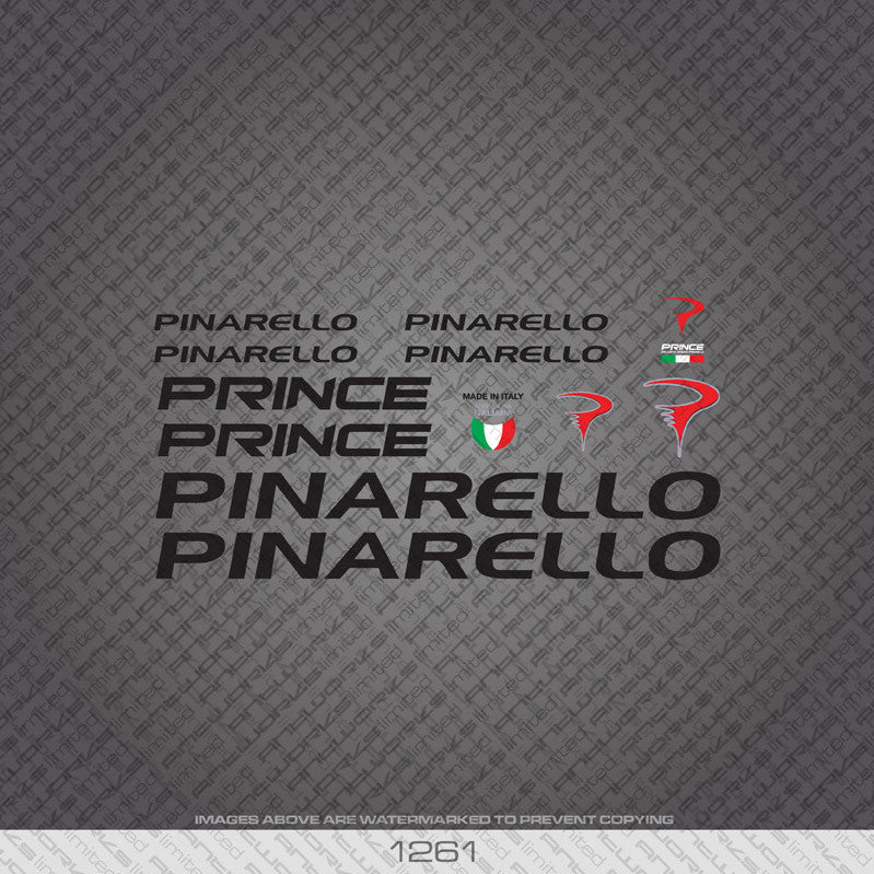 Pinarello Prince Bicycle Decals - Black Lettering - www.bicyclestickers.co.uk