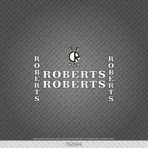 Roberts Bicycle Decals - White With Black Keyline - www.bicyclestickers.co.uk