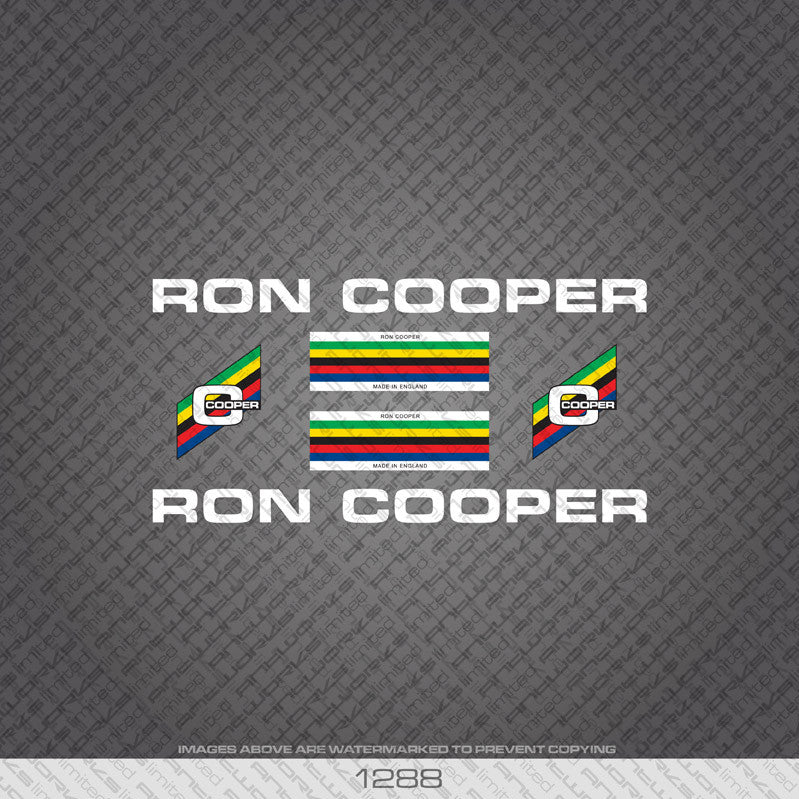 Ron Cooper Bicycle Decals - White - www.bicyclestickers.co.uk