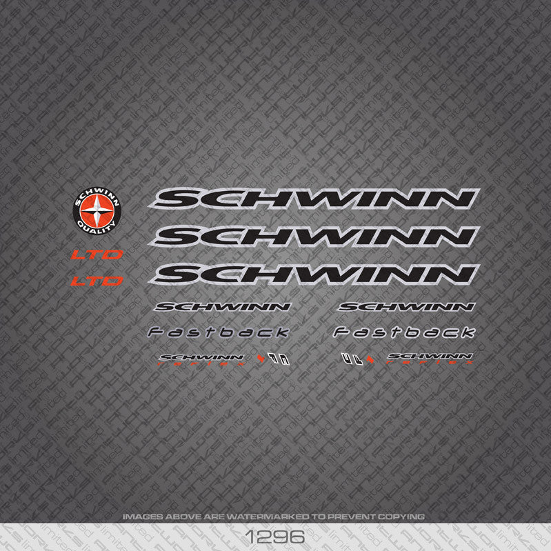 Schwinn Bicycle Decals - Black/Silver - www.bicyclestickers.co.uk