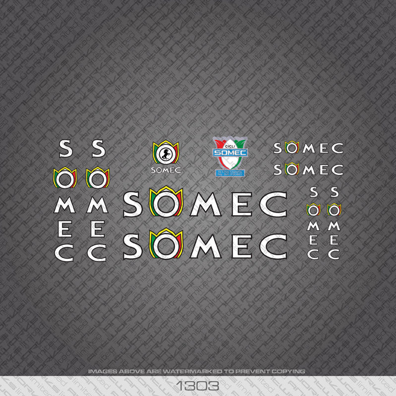 Somec Bicycle Decals - White/Black - www.bicyclestickers.co.uk