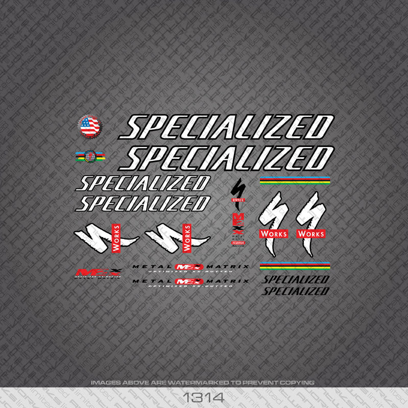 Specialized Bicycle Decals - White/Black - www.bicyclestickers.co.uk