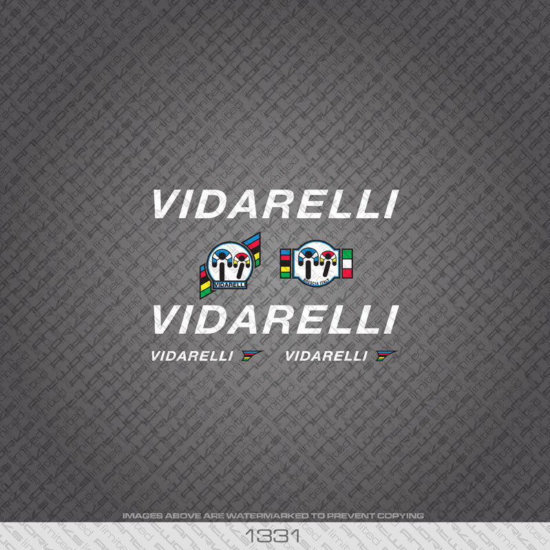 Vidarelli Bicycle Decals - White - www.bicyclestickers.co.uk