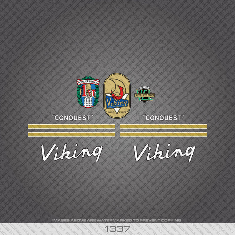 1960's Viking Conquest Bicycle Decals - White - www.bicyclestickers.co.uk