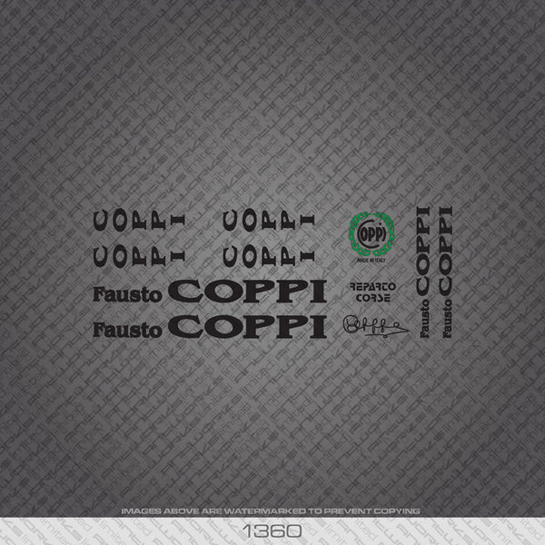 Fausto Coppi Reparto Corse Bicycle Decals - Black Lettering - www.bicyclestickers.co.uk