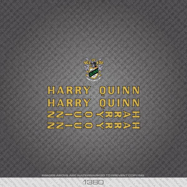 Harry Quinn Bicycle Decals - Gold - www.bicyclestickers.co.uk