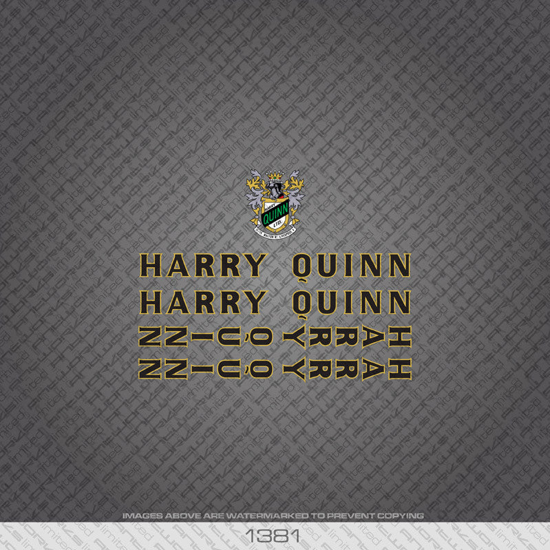 Harry Quinn Bicycle Decals - Black - www.bicyclestickers.co.uk
