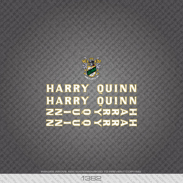 Harry Quinn Bicycle Decals - White With Gold Keyline - www.bicyclestickers.co.uk