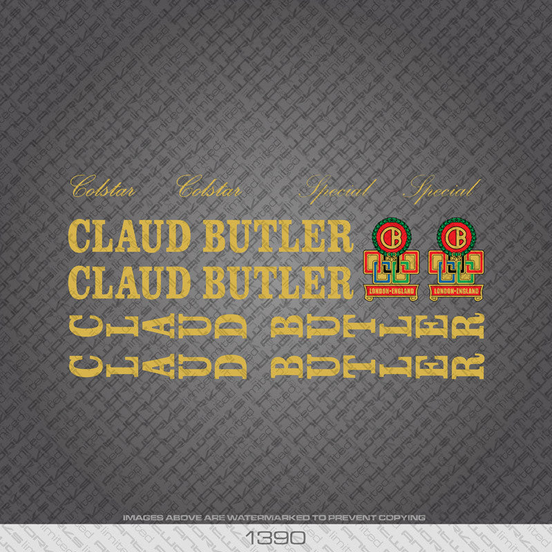 Claud Butler Colstar/Special Bicycle Decals - Gold Lettering - www.bicyclestickers.co.uk