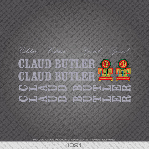 Claud Butler Colstar/Special Bicycle Decals - Silver Lettering - www.bicyclestickers.co.uk