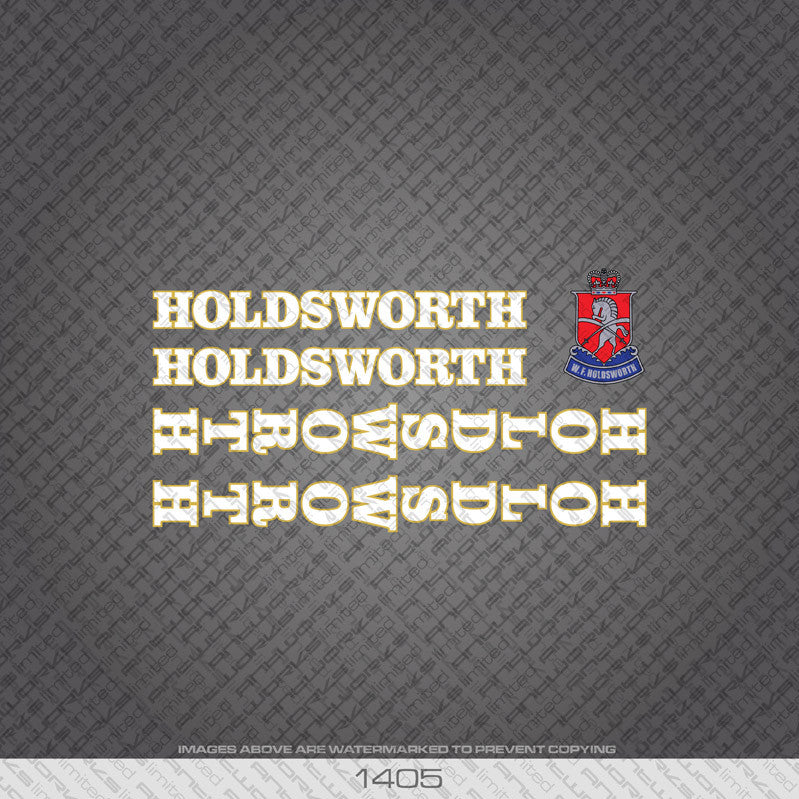 Holdsworth Bicycle Decals - White With Gold Keyline - www.bicyclestickers.co.uk