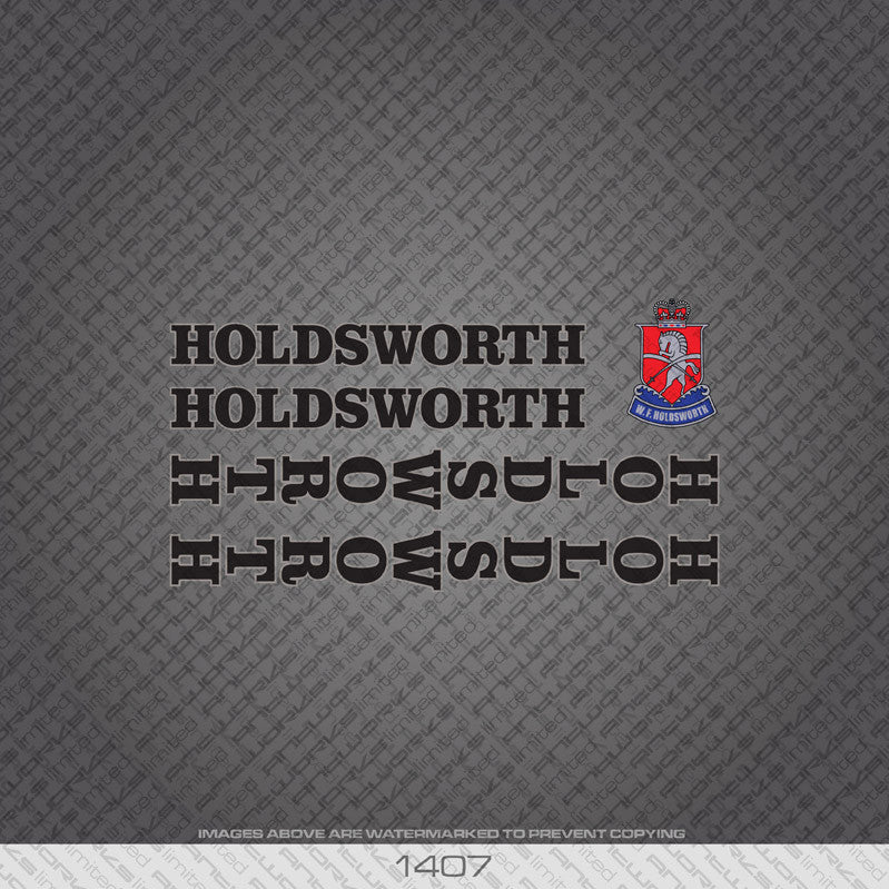 Holdsworth Bicycle Decals - Black With Silver Keyline - www.bicyclestickers.co.uk