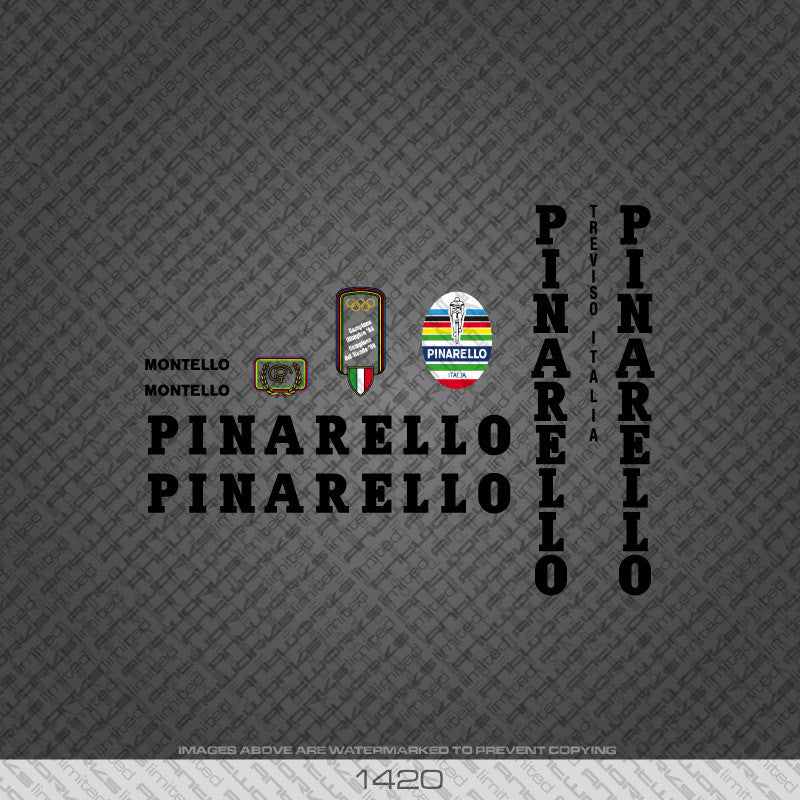 Pinarello Montello Bicycle Decals - Black Lettering - www.bicyclestickers.co.uk