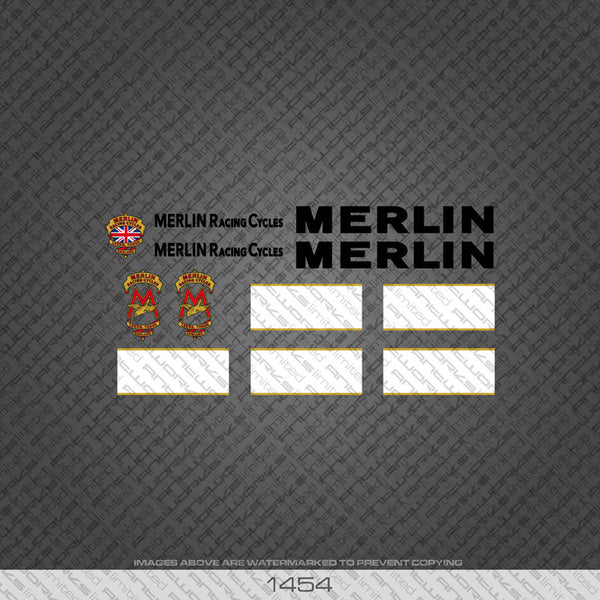 Merlin Racing Cycles Bicycle Decals - Black - www.bicyclestickers.co.uk