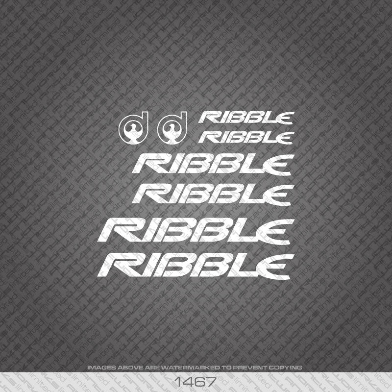 Ribble Bicycle Decals - White - www.bicyclestickers.co.uk
