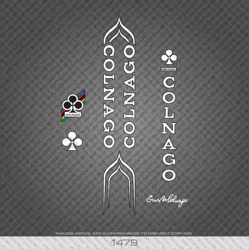 Colnago Bicycle Decals - White With Black Keyline - www.bicyclestickers.co.uk