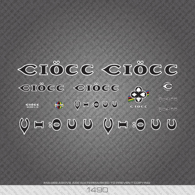 Ciocc Bicycle Decals - Black with White Keyline - www.bicyclestickers.co.uk