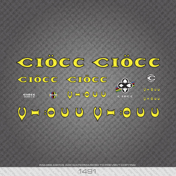Ciocc Bicycle Decals - Yellow with Black Keyline - www.bicyclestickers.co.uk