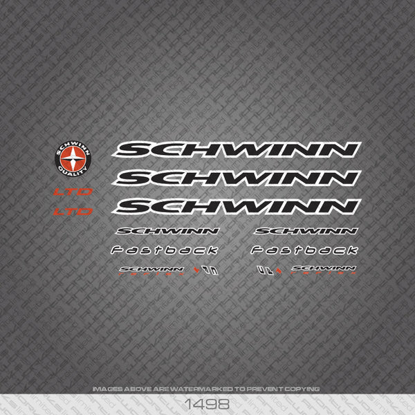 Schwinn Bicycle Decals - Black/White - www.bicyclestickers.co.uk
