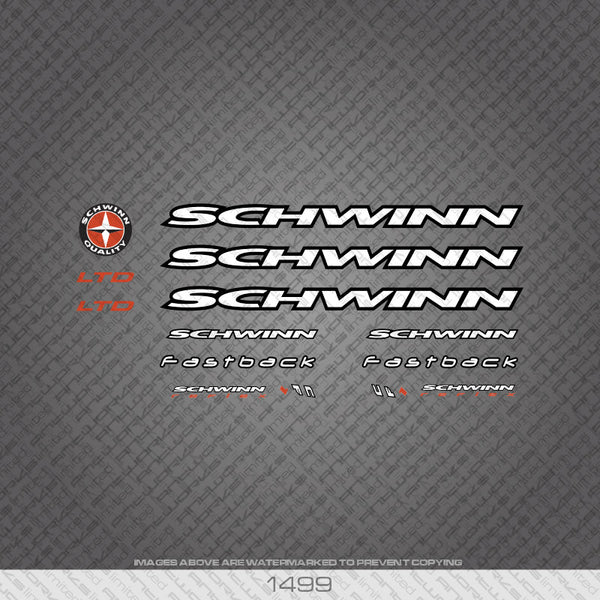 Schwinn Bicycle Decals - White/Black - www.bicyclestickers.co.uk