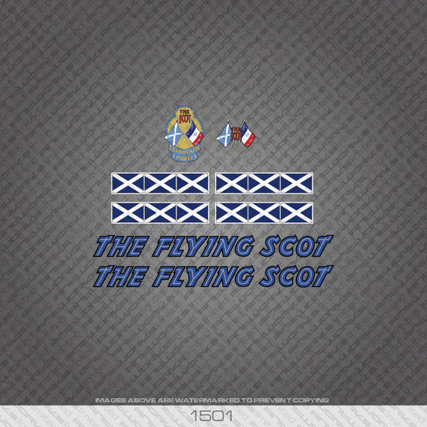 The Flying Scot Bicycle Decals - Blue - www.bicyclestickers.co.uk