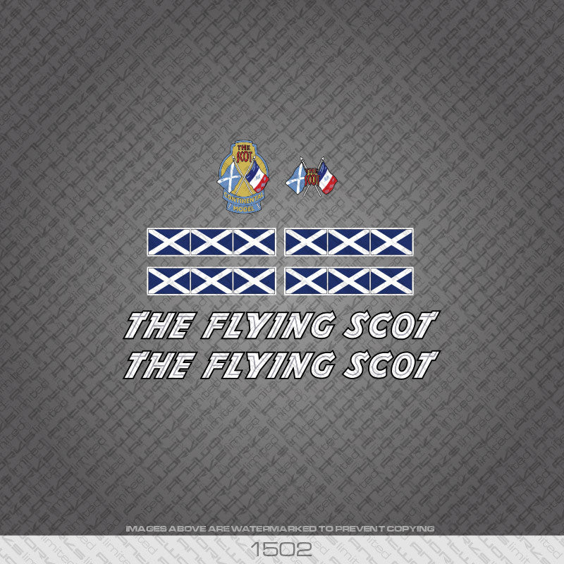 The Flying Scot Bicycle Decals - White - www.bicyclestickers.co.uk