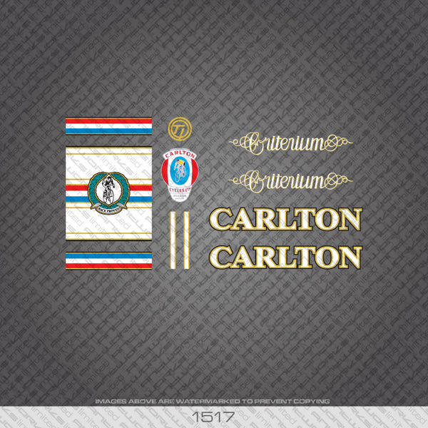 Carlton Criterium Bicycle Decals - White Lettering With Gold Keyline
