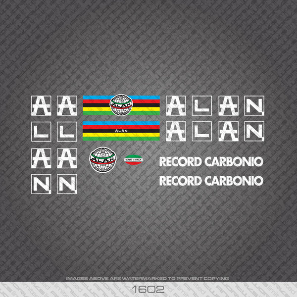 Alan Bicycle Record Carbonio Decals white Lettering