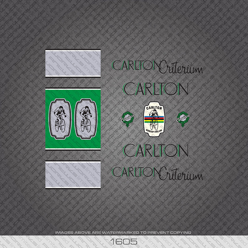 Carlton Criterium Bicycle Decals - Black/Green Lettering with Seat Tube Panels