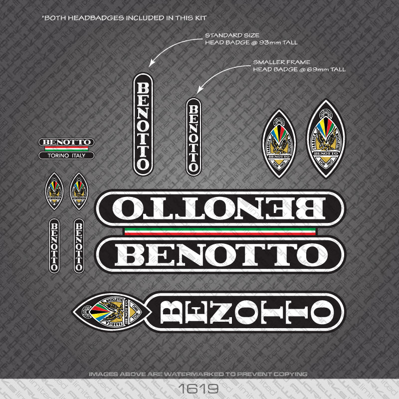 Benotto Bicycle Decals - White Lettering On Black Background