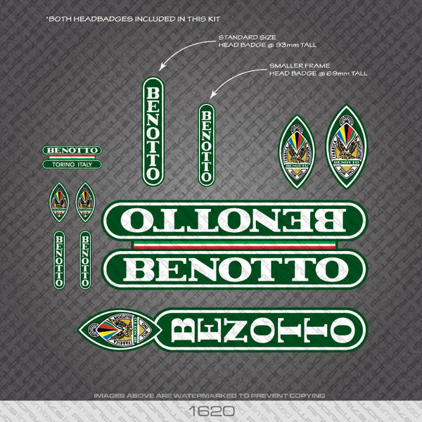 Benotto Bicycle Decals - White Lettering On Green Background
