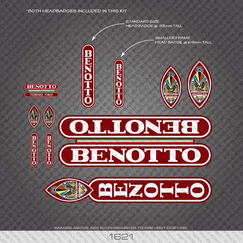Benotto Bicycle Decals - White Lettering On Dark Burnt Red Background