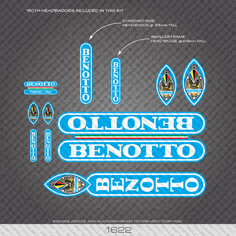 Benotto Bicycle Decals - White Lettering On Sky Blue Background