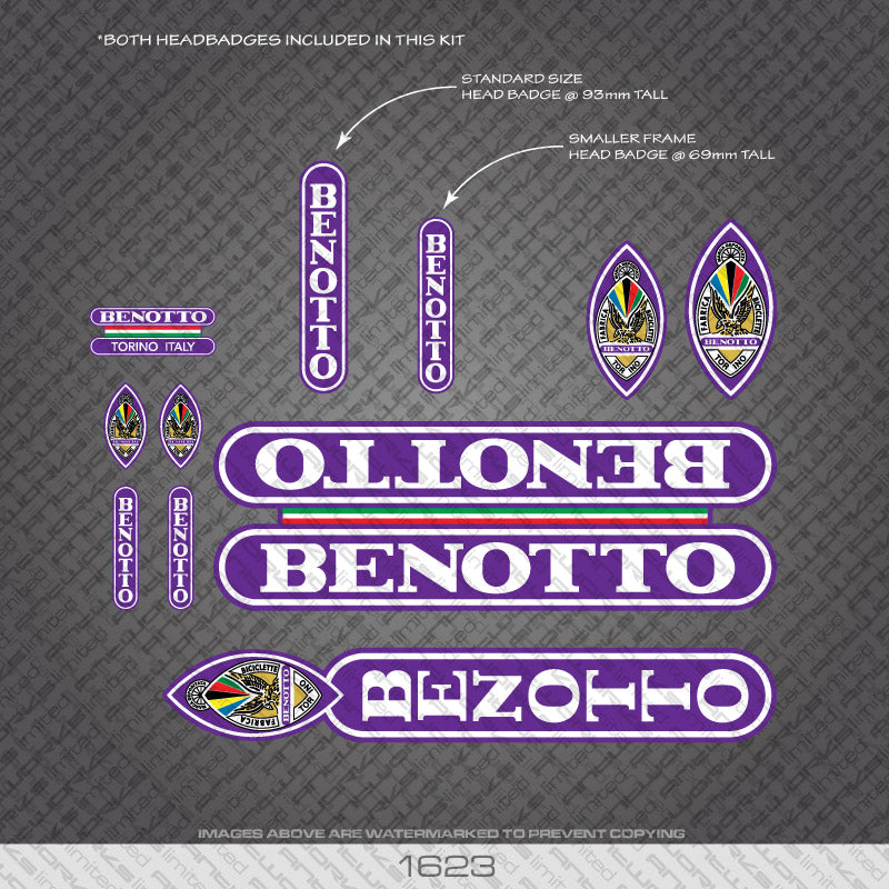 Benotto Bicycle Decals - White Lettering On Purple Background