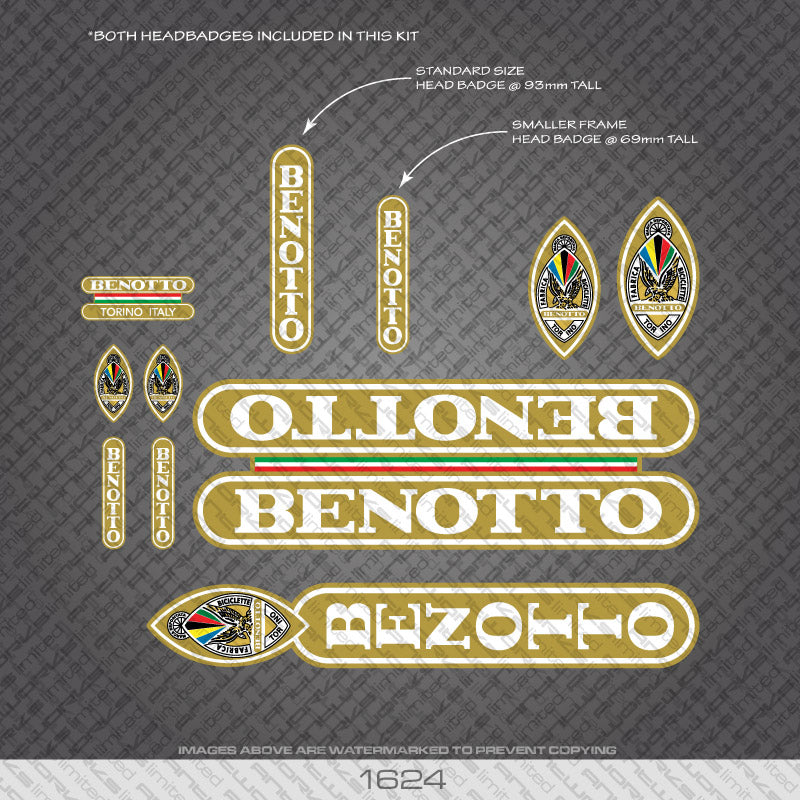 Benotto Bicycle Decals - White Lettering On Gold Background