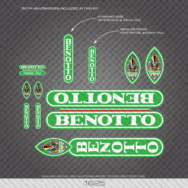 Benotto Bicycle Decals - White Lettering Bright Green Background