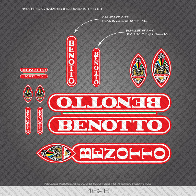 Benotto Bicycle Decals - White Lettering Bright Red Background