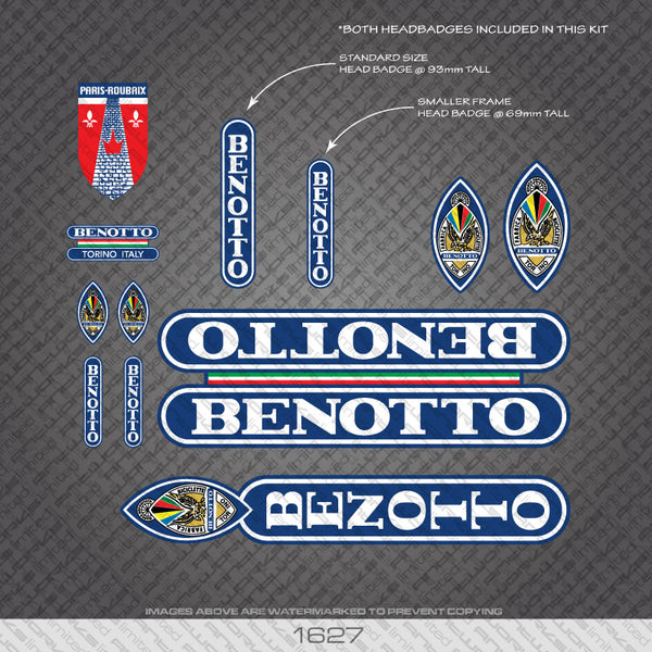 Benotto Bicycle Decals - White Lettering On Blue Background inc Paris Roubaix