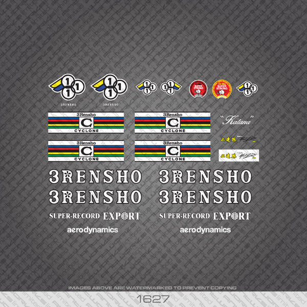 3Rensho Bicycle Decals White/Black With Extra Fork and Seat Tube Decals