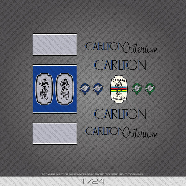Carlton Criterium Bicycle Decals - Black/Blue Lettering with Seat Tube Panels