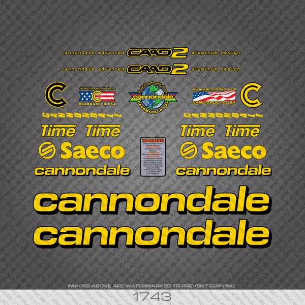 Cannondale CAAD 2 Saeco Bicycle Decals - Yellow With Black Keyline
