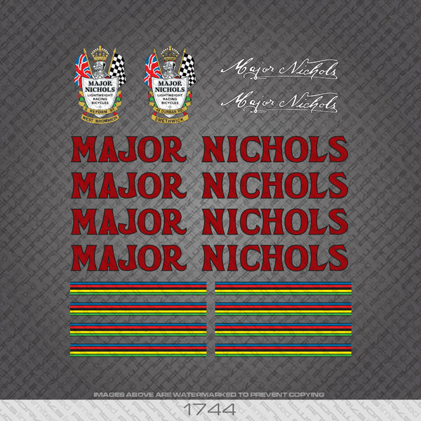 Major Nichols Bicycle Decals - Red with black Lettering
