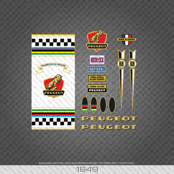 Peugeot PX10 Champion Du Monde with White Seat Tube Panel Bicycle Decals